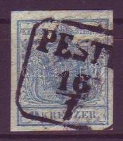 1850 9kr I típus papírránccal PEST(H)