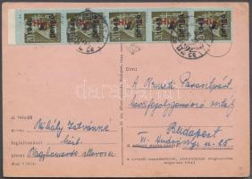 1946 (7. díjszabás) Helyi levelezőlap Betűs I. 5x Hlp.I./8P bérmentesítéssel