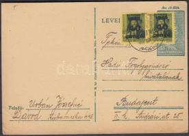 1946 (6. díjszabás) Távolsági levelezőlap 2x Kisegítő 40P/8f bélyegekkel tévesen az előző díjszabás szerint bérmentesítve