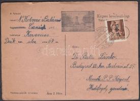 1946 (6. díjszabás) Távolsági levelezőlap Betűs I. Tlp.I./4f bérmentesítéssel