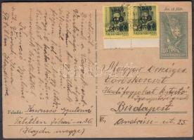 1946 (5. díjszabás) Távolsági levelezőlap Kisegítő 40P/8f ívszéli párral bérmentesítve