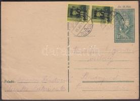 1945 (5. díjszabás) Távolsági levelezőlap Kisegítő 40P/8f párral bérmentesítve