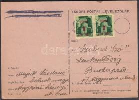 1945 (2. díjszabás) Távolsági levelezőlap Kisegítő 2x 1P/1P bérmentesítéssel