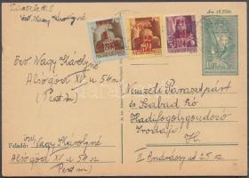 1945 (2. díjszabás) Helyi díjjegyes levelezőlap 3 klf Kisegítő bélyeggel kiegészítve, tévesen a távolsági levelezőlap tarifájával