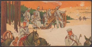 cca 1910 Árkád Játékáruház, Késmárky és Illés Bőr- és Díszműáru Üzlet számolócédula, militária motívumos litho számolócédula, 7x14 cm