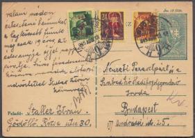 1945 (2. díjszabás) Helyi díjjegyes levelezőlap Kisegítő bélyeggel kiegészítve, tévesen a távolsági levelezőlap tarifája szerint bérmentesítve