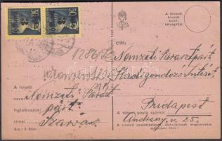 1945 (3. díjszabás) Távolsági levelezőlap Kisegítő 3P/50f pár bérmentesítéssel