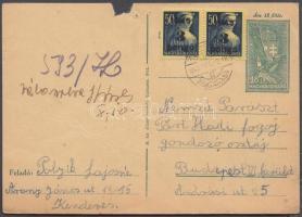 1945 (3. díjszabás) Távolsági levelezőlap Kisegítő 3P/50f pár bérmentesítéssel (hiányzó darabka a tűzés helyénél)