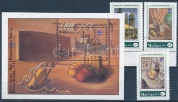 1993 POLSKA nemzetközi bélyegkiállítás, festmények ívszéli sor (1 bélyeg normál) Mi 1993-1995 + blokk Mi 289