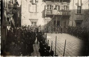 Kotor, Cattaro; ceremony, soldiers, photo