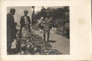 Unidentified Macedonian city, pottery market, folklore, photo