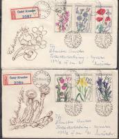 1964 Virágok sor Mi 1471-1476 2 db ajánlott FDC-n