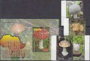 Mushrooms margin set + block, Gombák ívszéli sor + blokk