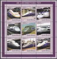 TGV locomotives mini sheet, TGV mozdonyok kisív