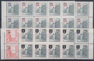Towns overprinted stamps in blocks of 10, Városok felülnyomott bélyegek tizestömbökben