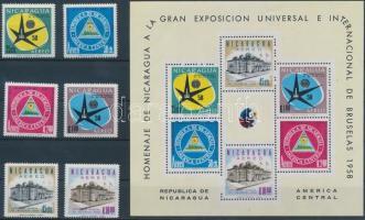 1958 Brüsszeli Világkiállítás sor Mi 1175-1180 + blokk 45