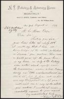 1899 Franz Sigel (1824-1902): 1848-as német szabadságharcos, később amerikai tábornok és politikus saját kézzel írt levele H. G. Howernek, melyben a Success c. lapban megjelent cikkből kér egy példányt / 1899 Autograph letter of 1848 freedom fighter, Union major general, politican Franz Sigel to H. G. Hower in which he asks for an article published in the Success