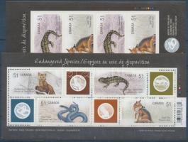 Endangered species stamp foil with self-adhesive imperforated stamps + block, Veszélyeztetett állatfajok bélyegfólia öntapadós vágott bélyegekkel + blokk
