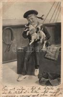 Haditengerészeti fiú kutyákkal a hajó fedélzetén s: Allanson Cull, Navy boy with dogs on board s: Allanson Cull