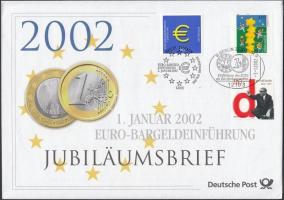 2002 Az Euro bevezetése 3 klf bélyeg FDC-n Mi 2113, 2155, 2234 + használatlan díjjegyes boríték Mi USo 33
