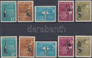 1962 Nyári olimpia fogazott és vágott sor Mi 657-661 AB