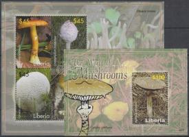 Mushrooms mini sheet + block, Gombák kisív + blokk