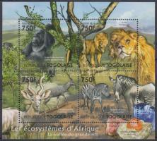African wildlife - mammals minisheet, Afrikai élővilág - emlős állatok kisív