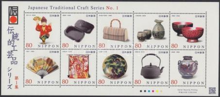 Japanese craft items mini sheet, Japán kézműves tárgyak kisív