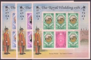 1981 Károly herceg és Lady Diana esküvője kisív sor Mi 628-630 C