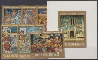 Moldavian monasteries with frescoes set + imperforated block, Moldvai kolostorok freskói sor + vágott blokk