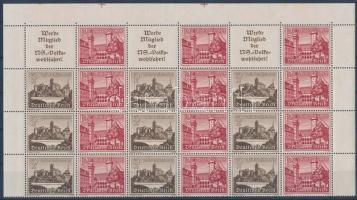 1939 Téli segély bélyegfüzet 21 bélyeget és 3 szelvényt tartalmazó ív darab Mi MHB 66 (rozsdafoltos)