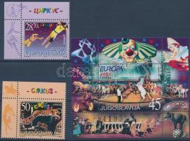 Europe CEPT: circus corner set + block, Europa CEPT: cirkusz ívsarki sor + blokk