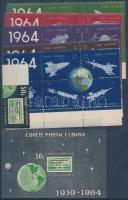 1964 25 éves az első kubai postarakéta-kísérlet ívszéli bélyeg + 5 ívsarki szelvényes hatostömb Mi 918-943 + blokk Mi 24