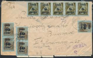 1945 (5. díjszabás) Távolsági levél 30 db Kisegítő bélyeggel, összesen 50 Pengővel + 70 Pengő készpénzes bérmentesítéssel / Domestic cover franked with 30 stamps + 70P cash