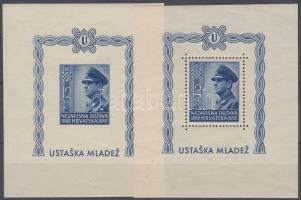 1943 2 éves a horvát állam fogazott + vágott blokk Mi 4 A-B