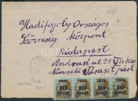 1945 (5. díjszabás) Távolsági levél Kisegítő 20x 4P/30f + 4x 10P/80f bérmentesítéssel