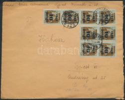 1945 (5. díjszabás) Helyi levél Kisegítő 8x 10P/80f bérmentesítéssel