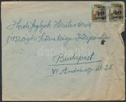1945 (5. díjszabás) Távolsági levél 22 db Kisegítő bélyeggel tévesen a 4. díjszabás szerinti bérmentesítéssel (gyűrött, szakadt szél)