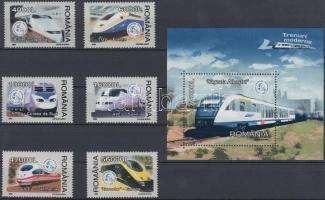 High-speed trains set + block, Nagy sebességű vonatok sor + blokk