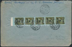 1945 (5. díjszabás) Helyi levél 5x Kisegítő 8P/20f bélyeggel, tévesen a 4. díjszabás szerinti bérmentesítéssel