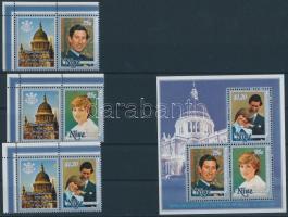 1981 Károly herceg és Lady Diana esküvője szelvényes ívsarki sor Mi 421-423 + blokk 48