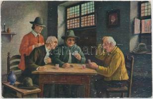 'Schwieriger fall' / 'Difficult case' card game 'Erpaco' Nr. 511 b. s: Otto Dinger (wet damage), Kártyázó férfiak, Nr. 511 b. s: Otto Dinger (ázott)