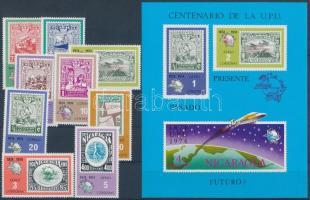 1974 100 éves az UPU sor Mi 1787-1795 + vágott blokk nyomtatott fogazással Mi 81 I