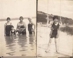 cca 1910-1920 Pfeifer és Rasem: A fürdőszezon örömei, 4 db fotólap, 9x14 cm