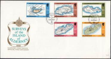 1989 Alderney térképei sor Mi 37-41 FDC