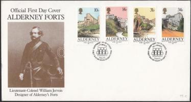 1986 Alderney erődítményei sor Mi 28-31 FDC