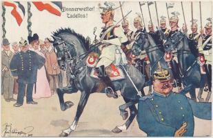 Donnerwetter, Tadellos / K.u.K. military, soldiers, parade, B.K.W.I. 335-3. s: Schönpflug (pinhole), K.u.K. hadsereg, katonai felvonulás, B.K.W.I. 335-3 s: Schönpflug (apró lyuk)