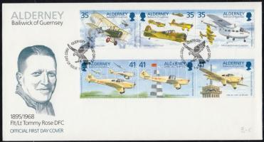 1995 100 éves Thomas Rose repülőgép pilóta sor 2 hármascsíkban Mi 83-88 FDC