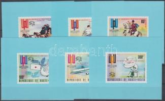 1974 100 éves az UPU fogazott + vágott felülnyomott sor + felülnyomott bélyegek blokk formában Mi 532-537 + fogazott + vágott felülnyomott blokk Mi 28