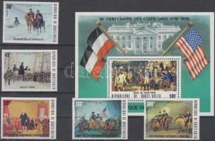 Bicentenary of independece of USA set + stamps in block form + block, 200 éve független az Amerikai Egyesült Államok sor + bélyegek blokk formában + blokk